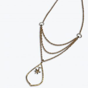 3. Gold Rope Chain with Teardrop Pendant
