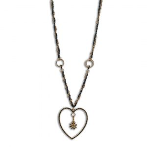 Black and Gold Beads with Heart Pendant